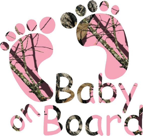 "6"" Pink Camo baby on board feet sticker decal for car/truck/suv/camper/motorcycle"