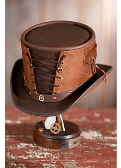 Steampunk Victorian Vested Leather Hat    like this