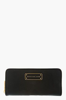 Marc By Marc Jacobs Black Leather Too Hot To Handle Zip Wallet for women | SSENSE