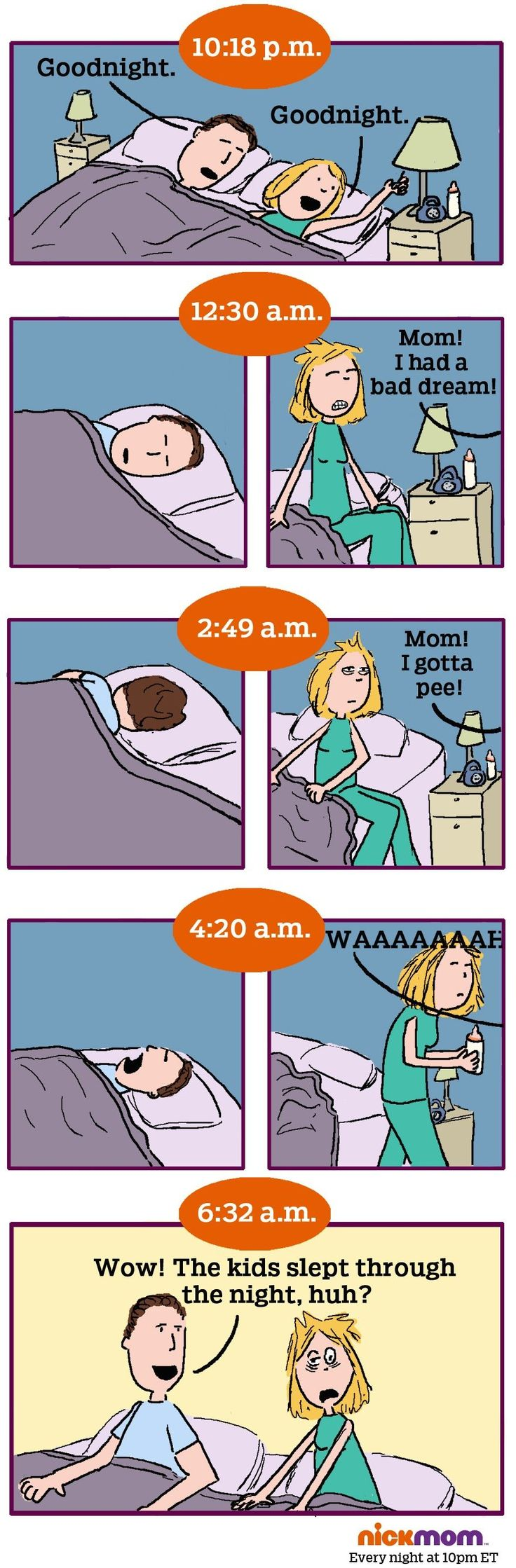 Check out this funny cartoon about kids sleeping through the night on NickMom.com!