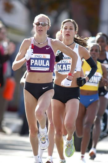 Two of my favorite lady runners: Paula Radcliffe leads ING NYCM 2008, Kara Goucher
