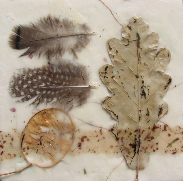 Nature Collage - encaustic mixed media, Bernie Meyers