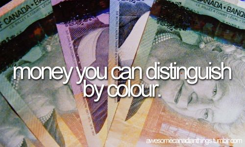 Money you can distinguish by colour
