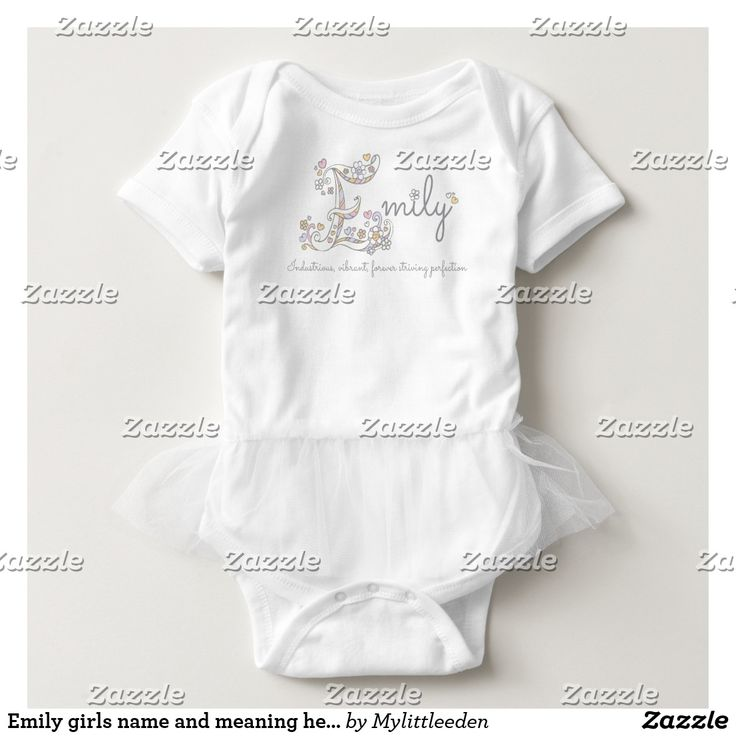 Emily girls name and meaning hearts new baby naming gift baby bodysuit by www.mylittleeden.com For more baby names see https://www.zazzle.com/collections/baby_name_meanings_hearts_and_flowers_art_clothing-119614580121120626?rf=238346800477376990&CMPN=share_dclit&lang=en&social=true