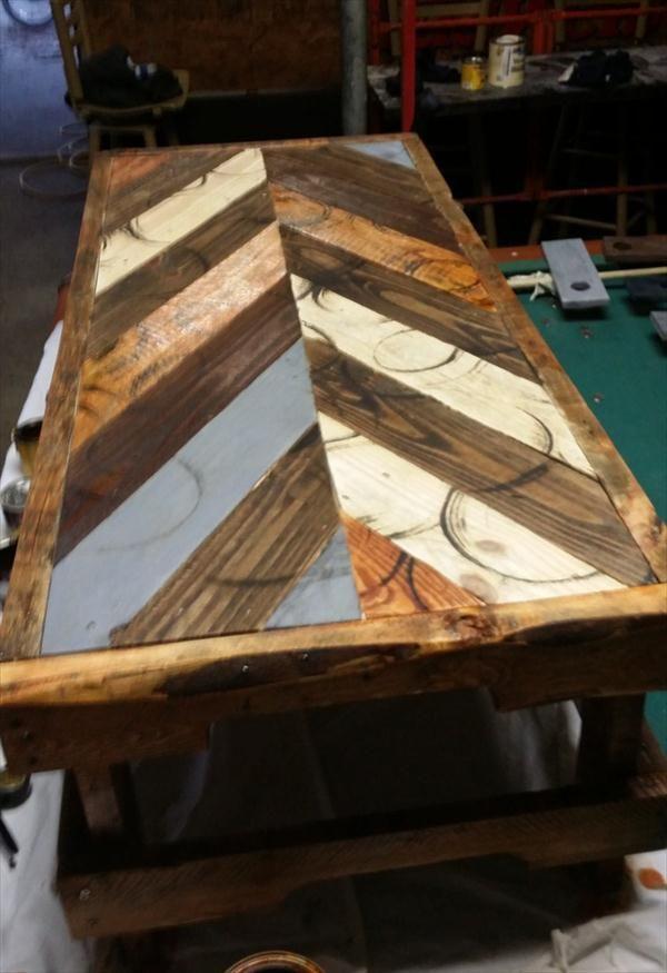 DIY Chevron Pallet Coffee #Table   Pallet Furniture DIY
