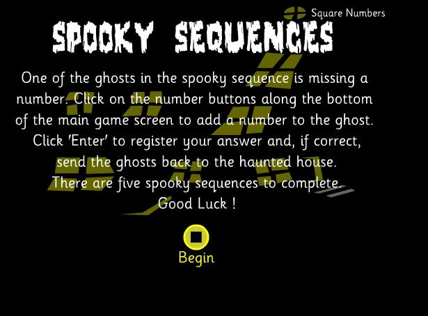 Patterns: one of the ghosts is missing a number. Click on the numbers along the bottom to enter the right number in the sequence