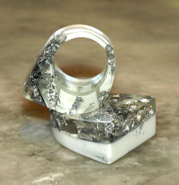 CRYSTAL ICE resina anelli, anelli foglia argento, bianco anelli anelli, anelli a molla, bianco ghiaccio anelli, gioielli tendenze, trend, ResinHeavenUSA