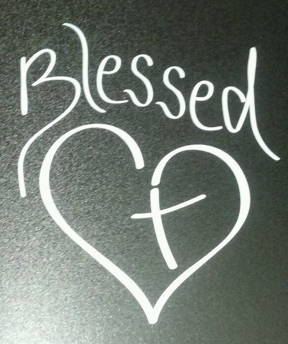Blessed Heart with Cross Christian Vinyl Decal for by PonderTruth
