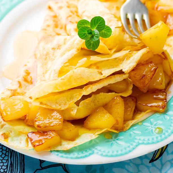 Crêpes chantilly à l'ananas poêlé