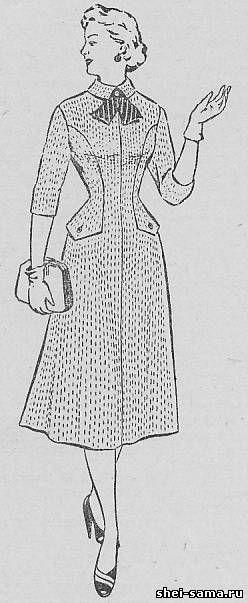 Платье с бочком, переходящим в баску