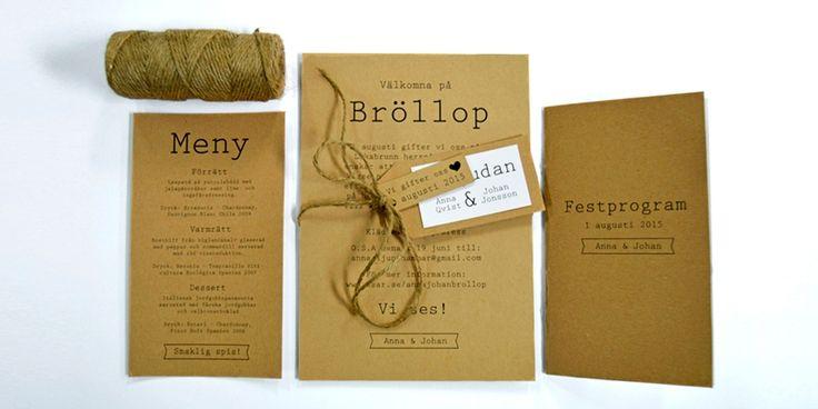 Inbjudningskort i rustik vintage stil för bröllop #inbjudan #bröllop # brollop #invitation