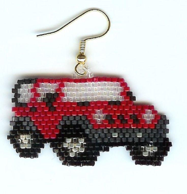 Hand Beaded Red Jeep  dangling earrings  #Handmade #dangle