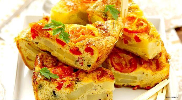 Potato Tortilla with Pepper and Tomato