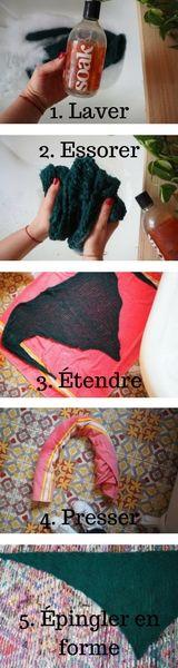 Comment laver et bloquer un tricot. How to wash and block a knitwear.  1. Laver avec un shampoing spécial laine. 2. Essorer doucement pour retirer l'excédent d'eau. 3. Étendre à plat dans une serviette de bain. 4. Rouler la serviette et presser doucement pour terminer de retirer l'eau. 5. Étendre sur un tapis/matelas et épingler pour maintenir la forme souhaitée lors du séchage (éviter le plein soleil qui peut  éclaircir la laine).