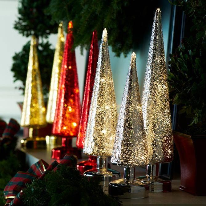 Mercury glass set of trees illuminate and add a sparkle