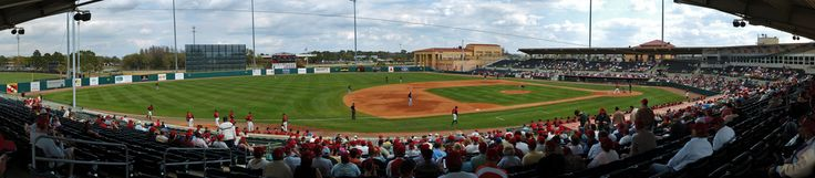 Stitched from 81 frames taken today at opening day of MLB spring training baseball in Osceola County. If you check out the original size you can spot the ball en route from pitcher to catcher!  Stitched in AutoPano Pro, post and cleanup done in CS2.