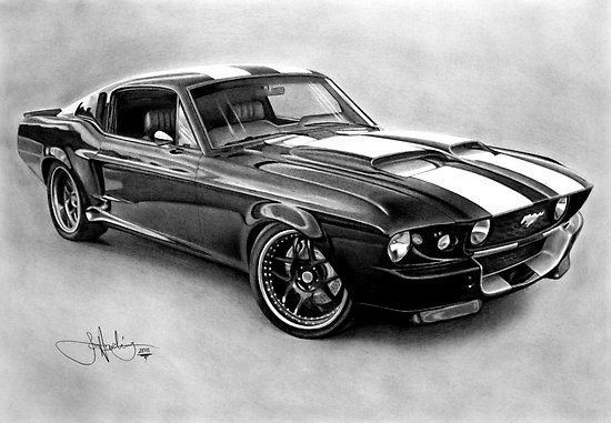 black and white ford truck wall canvas | John Harding › Portfolio › Mustang GT-500 drawing