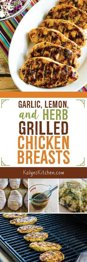 These Garlic, Lemon, and Herb Grilled Chicken Breasts are something I've made over and over for guests, and everyone has asked for the recipe. They're super easy to make and use ingredients you probably keep on hand, and this tasty recipe is low-carb, Keto, gluten-free, dairy-free, South Beach Diet friendly, Paleo, and Whole 30! [found on KalynsKitchen.com]