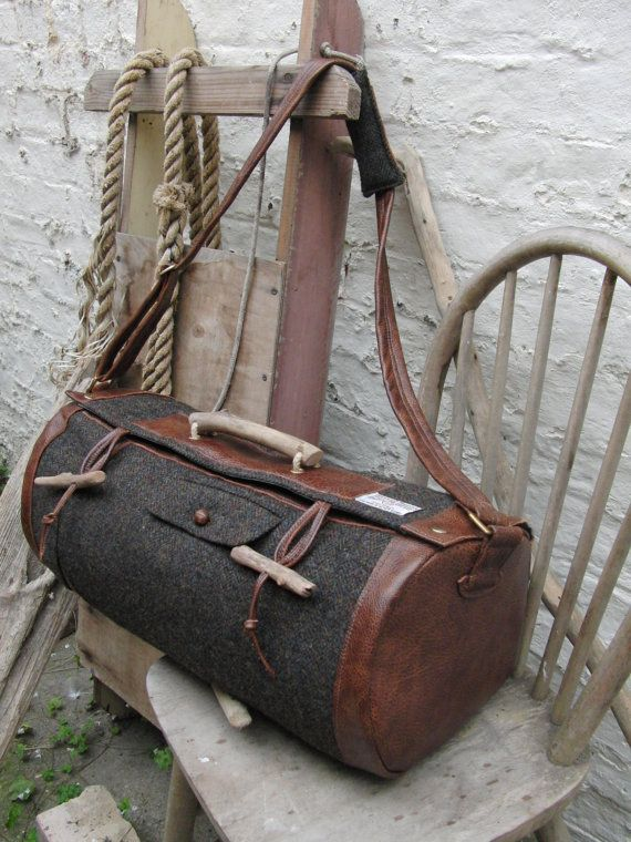 Vintage Harris Tweed Barrel Bag by SeaDriftDesign on Etsy