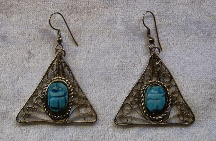"""Egyptische oorbellen Scarabee """"Het oog van Horus"""" - Egyptian earrings Scarabee """"The Eye of Horus""""   Faraonische stijl - Pharaonic   buikdanswinkel-webshop"""