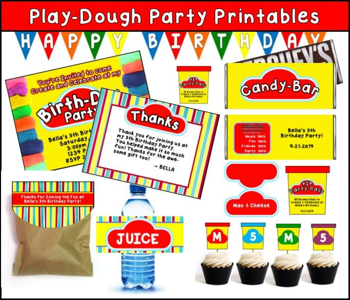Play Doh Party Printables - Editable!