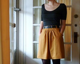 mustard skirt.. use Simplicity 2226 and take 2 inches off each side of back piece to decrease fullness