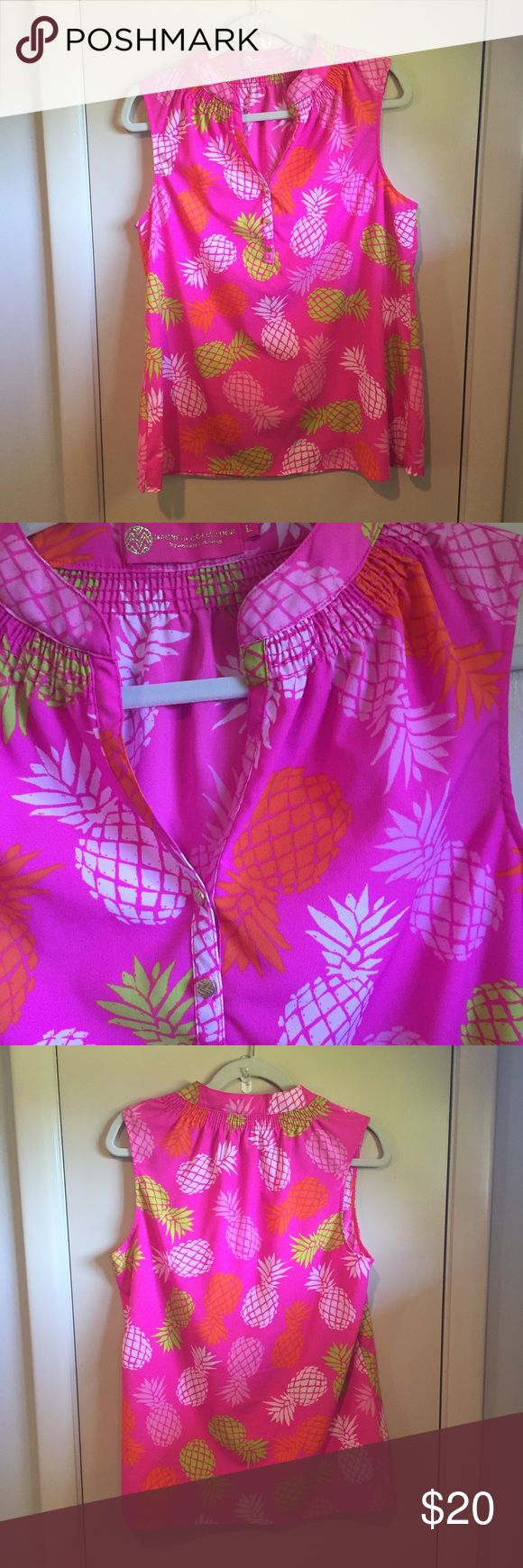 """Neon pineapple motif MacBeth sleeveless bff blouse Bright colored MacBeth collection sleeveless bff blouse. Smocked neckline with gold tone buttons. Lightweight. 100% polyester. 26.5"""" length. Excellent condition. MacBeth  Tops Blouses"""