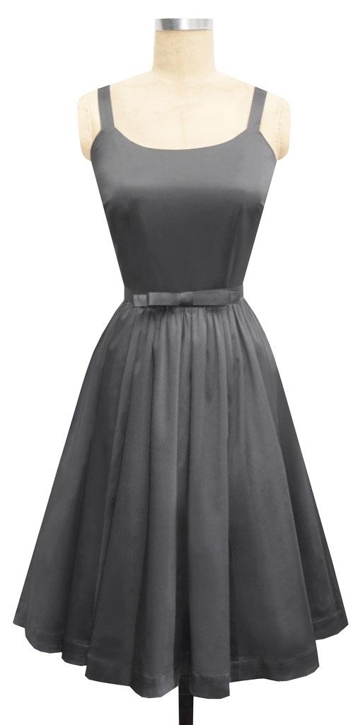 Annette Bow Dress | Steel Cotton Blend Satin | 1950s Inspired Dark Gray Bridesmaid Dress | Trashy Diva