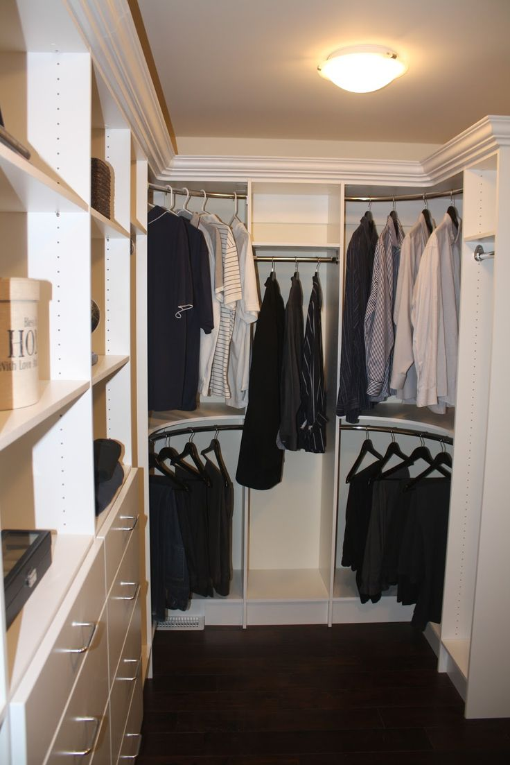 THIS is how i want my closet corner rods BUT with custom crown molding on the top- What can I say I know what I want! THIS WILL happen!