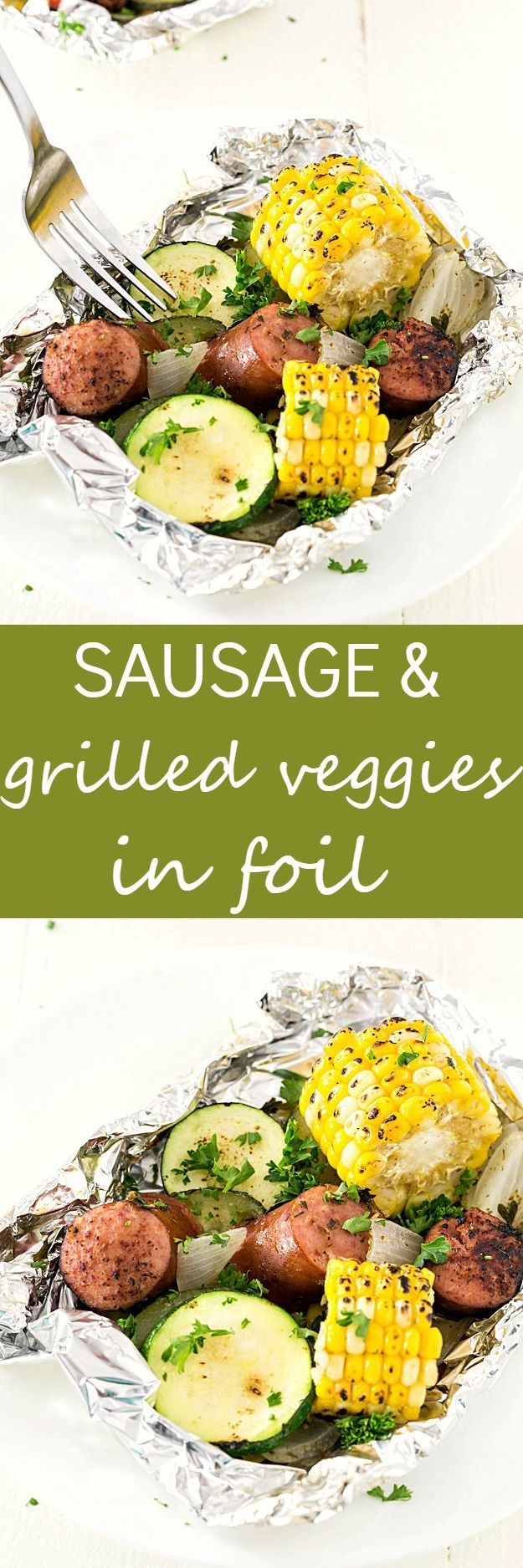 Kielbasa Sausage & Grilled Vegetables in Foil - These foil packets are so quick to assemble! Perfect for camping or a quick dinner.