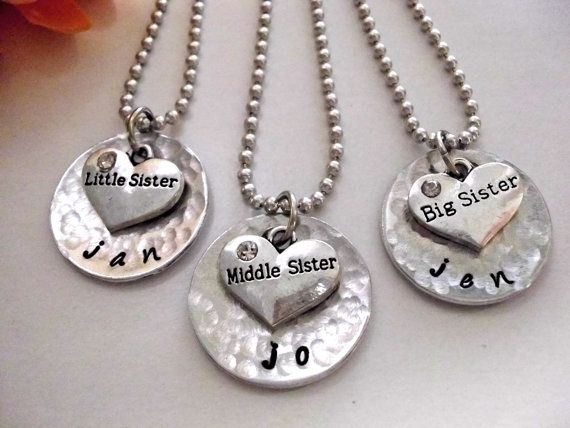 Sisters Necklace Set Little Sister Middle Sister by CharmAccents, $63.00