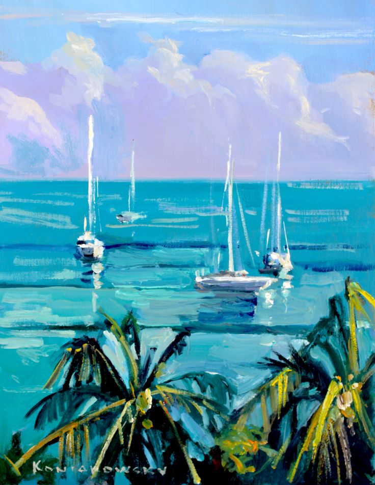 """Boats on Blue"" Painting by Wade Koniakowsky"