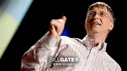 Bill Gates: Mosquitos, malaria and education  Bill Gates hopes to solve some of the world's biggest problems using a new kind of philanthropy. In a passionate and, yes, funny 18 minutes, he asks us to consider two big questions and how we might answer them. (And see the Q on the TED Blog.)