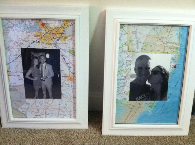 framed vacation pics - except do it on a canvas.