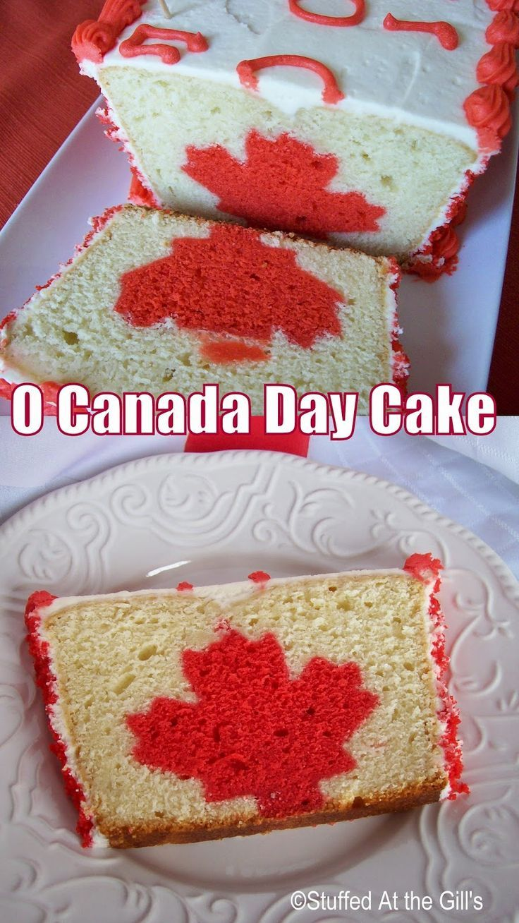 Stuffed At the Gill's:  O Canada Day Cake is a moist, dense cake with a patriotic red maple leaf going through the centre.  Great for your Canada Day celebrations at home or at a picnic. #CanadaDayCakes