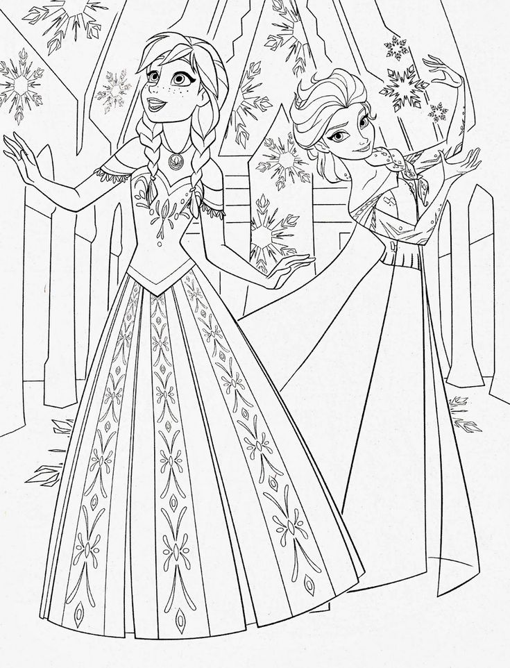 Color pages of anna elsa frozen walt disney princess characters