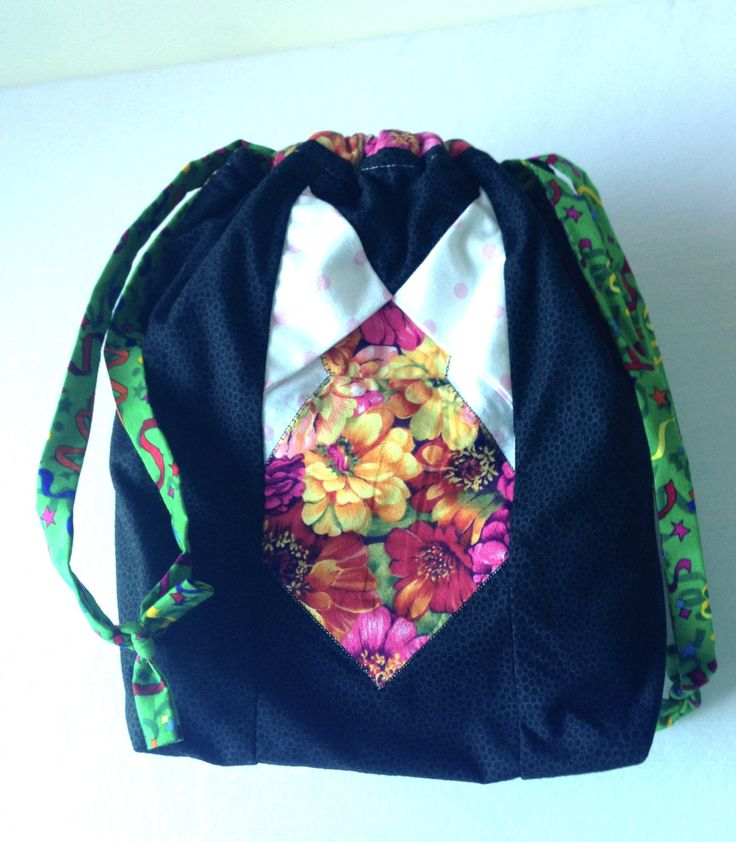 Flower Giggles - TAAT- Project Bag for Knitting Two At A Time with hanging pocket à la SockSack - Ramona Rose by QuiltMoxie on Etsy