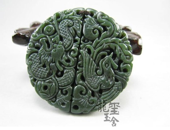 Natural Green jade carved dragon Phoenix