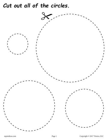 FREE cutting worksheets. Includes a circle cutting practice worksheet plus 11 other shapes. Great for toddlers, preschool, and kindergarten! Get all of the shape scissor skills worksheets here --> http://www.mpmschoolsupplies.com/ideas/7556/12-free-printable-shapes-cutting-worksheets/