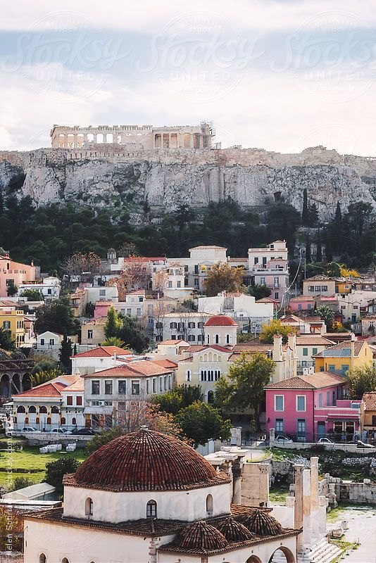 The Acropolis over the older neighborhood of Plaka, as seen from Monastiraki Square
