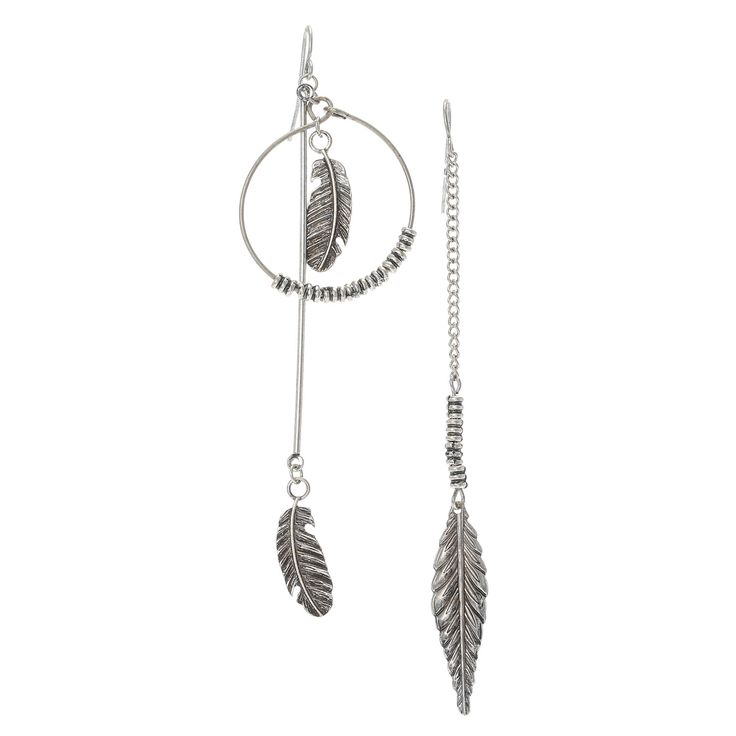 <P>Get a chic boho look with this set of mix matched antique silver earrings. Includes 1 hoop earring with dangling feathers in the center and 1 drop chain earring with a feather at the bottom.</P> - <UL> - <LI>Antique silver finish  - <LI>Fishhook attachment</LI></UL>