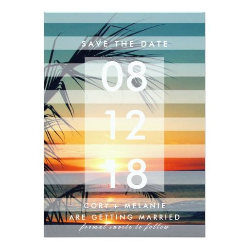 Palm Trees Beach Sunset Photo Save the Dates