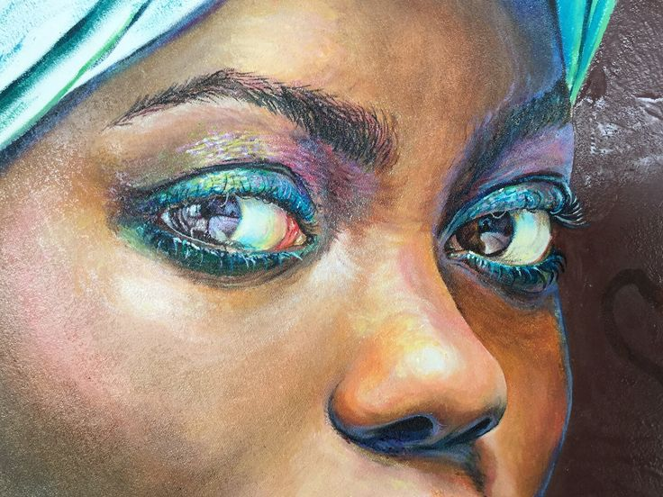 Close up detail of Oil Painting in progress @baldwinbridget