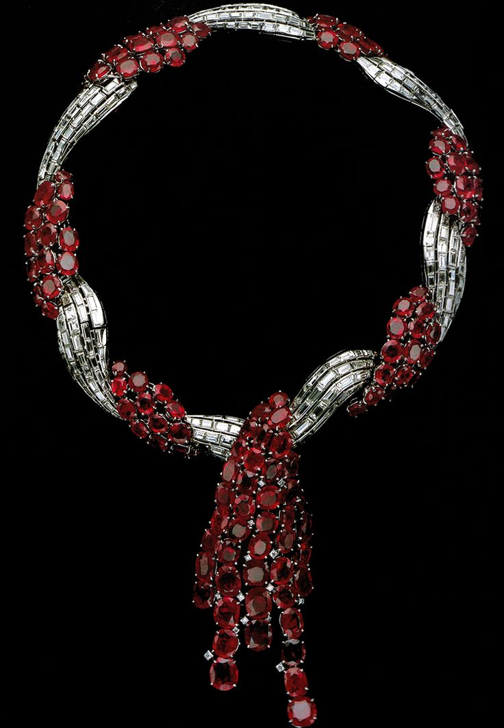 Formerly the Property of the Duchess of Windsor - Van Cleef & Arpels Necklace 1938, platinum, rubies, diamonds, design by Rene-Sim Lacaze.