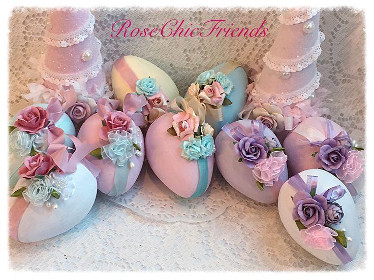 Shabby chic paper mâché eggs by Rosechicfriends