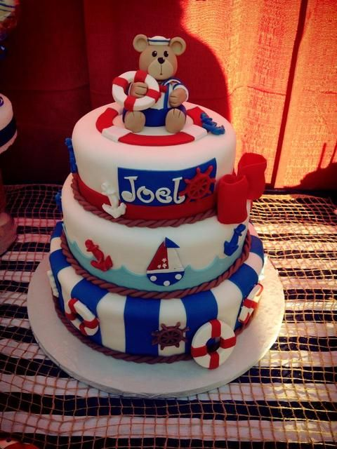 What an adorable cake at a Nautical Baby Shower! See more party ideas at CatchMyParty.com! #partyideas #babyshower