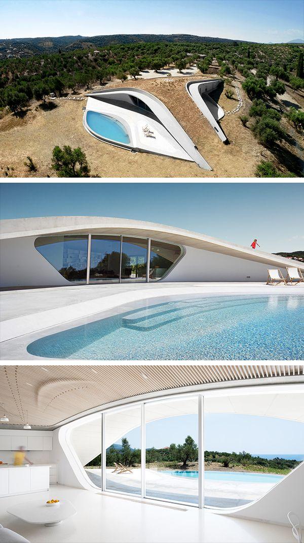 Villa Ypsilon By Lassa Architects In Finikounda Greece Green Building Architecture Futuristic Architecture Green Architecture