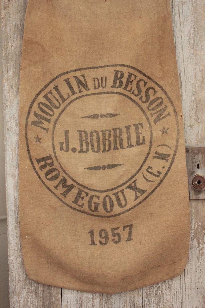 Vintage french printed agricultural burlap decorative sack for Decorative burlap bags
