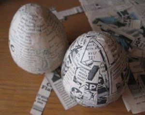 Easter Egg Crafts. We could use modge podge and magazines to decorate the eggs