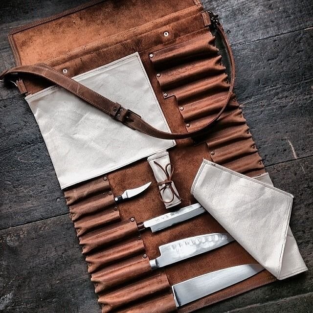 Ship Island Leather - knife roll Leather, canvas? $??? Features: knives placed along both sides